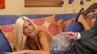 Sweet blonde hottie sucks and fucks big cock of mature dude till cumshot Preview Image
