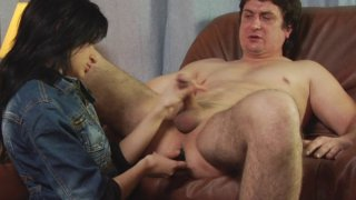 Femdom MILF fucks dirty male ass hole and jerks off small cock Preview Image