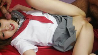 Ai in a schoolgirl uniform spreads her pussy for a hard dick Preview Image