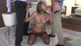Dirty Russian slut Ani Black Fox sucking two hard cocks Preview Image