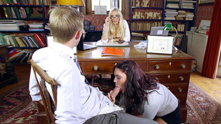 Dean Rebecca More watches on as Emma Leigh sucking Danny D's schlong Preview Image