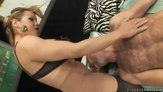 Blonde shemale Mireira dominates over tall lover Preview Image