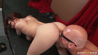 Cute ginger chick in sexy glasses Ashley Graham is_pleasing her fucker_Johnny Sins with hot tit and deep blow jobs. Preview Image