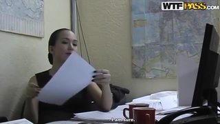 Hot brunette office lady Natasha getting pleasured in her office Preview Image