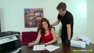 Redheaded cutie is pounded during job interview Preview Image
