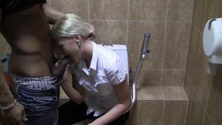 Pamela in blonde having sex in restroom in stockings porn vid Preview Image