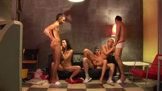 Carolina & Emmy & Logan & Milia in super young porn chicks enjoy group fucking Preview Image
