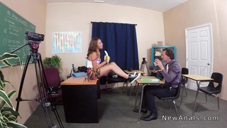 Perfect booty schoolgirl anal banged in classroom Preview Image