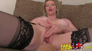 FakeAgentUK Stocking clad MILF gives oral feast Preview Image