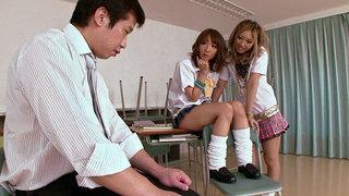 Schoolgirls Double Team The Teacher Preview Image