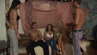 Allysin Moore & Cofi & Lucille & Monica B. & Stacey Silver in hot college sex scene with a bunch of slutty girls Preview Image