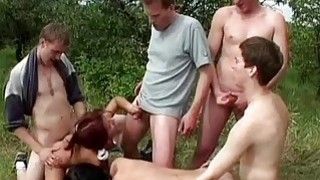 Hard BiSex perverted party in the forest Preview Image