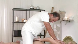 Masseur fucks blonde and creampies on a massage table Preview Image