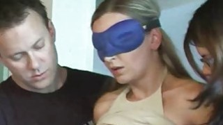Hot guy having fun at hogtied blonde expense Preview Image