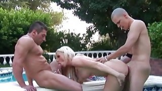 Blonde stunner being fucked in the pool by the hun Preview Image