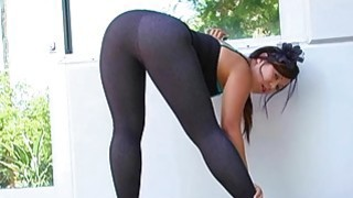 On high heels and in leggings Preview Image