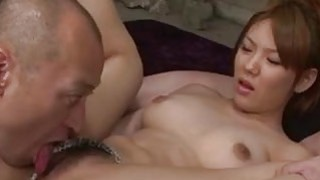 Busty Jap babe is_deeply double penetrated in wild threesome Preview Image