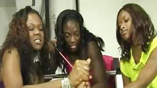 Three Ebony Babes Team Tug and Tease A Big White C Preview Image