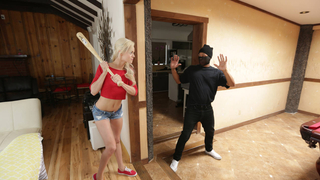 Blondie teen home alone with a robber armed with a big cock Preview Image