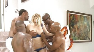 Busty blonde whore ass_fucked by many big black cocks Preview Image