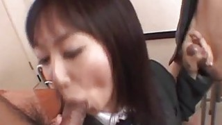 Lovely Asian Ryo enjoys_giving double blowjob Preview Image