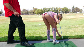 Karla Kush teasing her golf instructor with her short skirt Preview Image