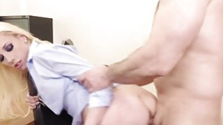 Blonde babe Roxy Nicole fucked hard on a desk Preview Image