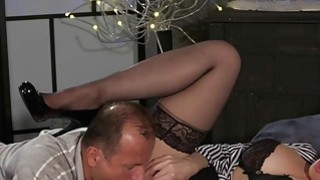 Busty mom gags_and fucks in bed_in lingerie Preview Image