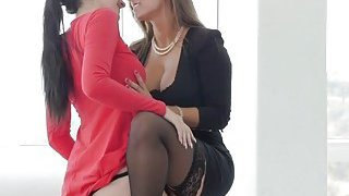 Slutty brunette lesbians licking cunts in orgy Preview Image