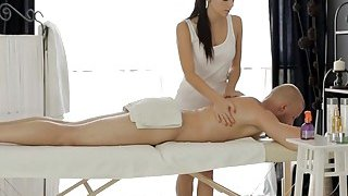 Skinny brunette teen masseuse pounded on massage table Preview Image