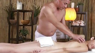 Lusty brunette babe takes masseur's dick and sucks it good before it ends up in her pussy Preview Image