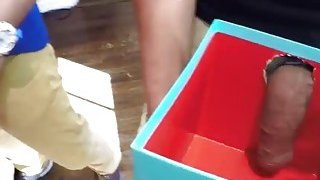Teen chicks getting a surprise Dicks in the xmas box Preview Image