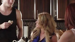 Janet Mason and her MILF friend Farrah Dahl satisfy handsome young stud Preview Image