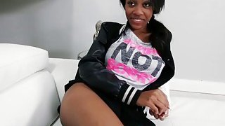 Sexy ebony teen sucks large white cock before gets her pussy banged hard Preview Image