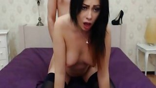 Horny Brunette Babe Gets Mouth and Pussy Fuck Preview Image