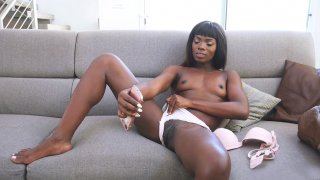 Ebony cutie Ana Foxxx is doing erotic selfies on smartphone Preview Image