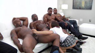 Keisha Grey in blow bang action with four black dudes Preview Image