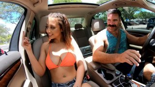 Marilyn Mansion flashes her big natural tits in the car Preview Image