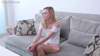 Sexy blonde teen masturbates_and is fingered by casting agent Preview Image