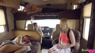 Sexy teen chicks share a massive dick in the car Preview Image