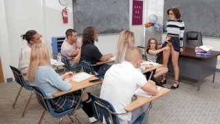 Adriana Chechik and Kimmy Granger suck dildo in the classroom Preview Image
