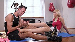 italiana - Kickboxer babe enjoys foot fucking Preview Image