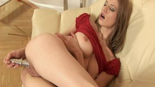 laura haddock & Skinny blonde laura milk enema in red outfit penetrates her pussy with metal dildo Preview Image