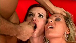 Sexy babes Katja Kassin_and Megan Monroe sucking one dick Preview Image