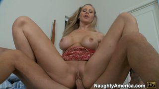 Hussy blonde Julia Ann is riding a small cock and enjoys it Preview Image
