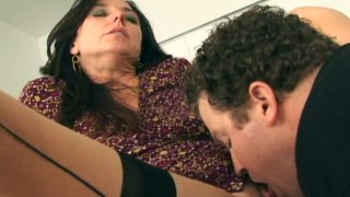 Sexy hot milf Karen Kougar in stockings giving a blowjob and fucks Preview Image