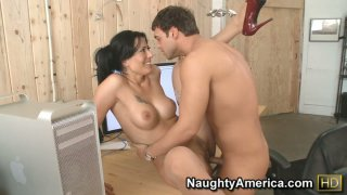 Flexible brunette Zoey Holloway lifts her leg up to stretch her pussy Preview Image