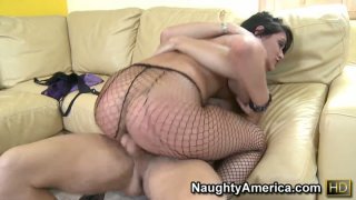 Sexy fishnets_of Charley Chase catch macho dick on the couch Preview Image