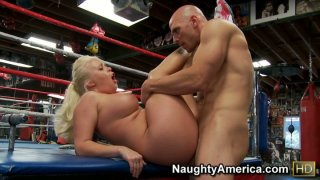 Fat and ugly Angel Vain with big boobs fucking a small cock on a boxing ring Preview Image