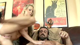 Dirty bitch Carolyn Reese getting nailed on a table missionary position and then jumping on a cock Preview Image